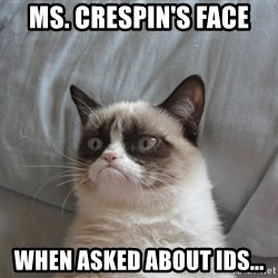 Grumpy cat good - Ms. Crespin's face when asked about IDs...