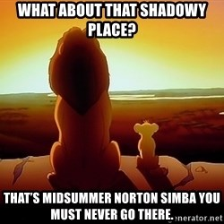 simba mufasa - What about that shadowy place? That's Midsummer Norton Simba you must never go there.
