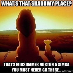 simba mufasa - What's that shadowy place? That's Midsummer Norton a Simba you must never go there...