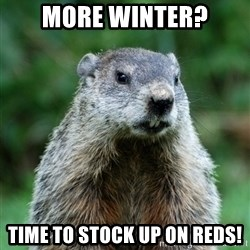 grumpy groundhog - More Winter? Time to stock up on reds!