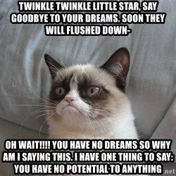 Grumpy cat good - twinkle twinkle little star, say goodbye to your dreams. soon they will flushed down-  oh wait!!!! you have no dreams so why am i saying this. i have one thing to say: YOU HAVE NO POTENTIAL TO ANYTHING