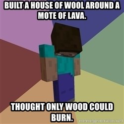 Depressed Minecraft Guy - built a house of wool around a mote of lava. thought only wood could burn.