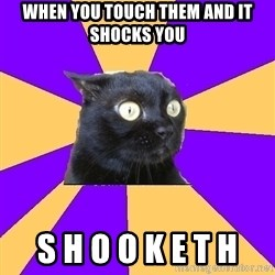 Anxiety Cat - When you touch them and it shocks you S H O O K E T H