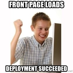 Computer kid - Front page loads deployment succeeded