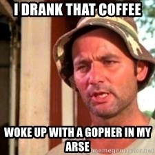 Bill Murray Caddyshack - I drank that coffee Woke up with a gopher in my arse