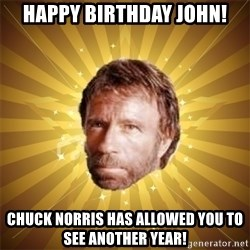 Chuck Norris Advice - Happy Birthday John! Chuck Norris has allowed you to see another year!