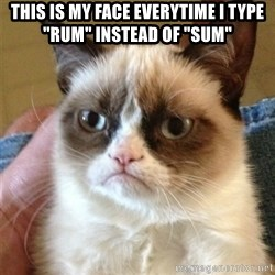 "Grumpy Cat  - THIS IS MY FACE EVERYTIME I TYPE ""RUM"" INSTEAD OF ""SUM"""