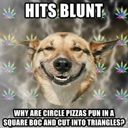 Stoner Dog - hits blunt why are circle pizzas pun in a square boc and cut into triangles?