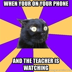 Anxiety Cat - When your on your phone and the teacher is watching
