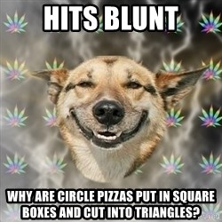 Stoner Dog - hits blunt why are circle pizzas put in square boxes and cut into triangles?