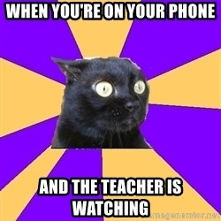 Anxiety Cat - When you're on your phone and the teacher is watching