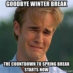 90s Problems - Goodbye Winter Break the countdown to spring break starts now