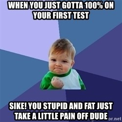 Success Kid - When you just gotta 100% on your first test Sike! you stupid and fat just take a little pain off Dude