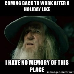 no memory gandalf - Coming back to work after a holiday like I have no memory of this place