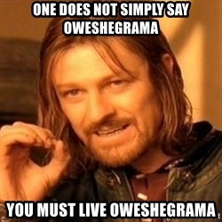 One Does Not Simply - one does not simply say oweshegrama you must live oweshegrama
