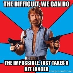 Chuck Norris  - The difficult, we can do The impossible, just takes a bit longer