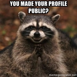 evil raccoon - You made your profile public?