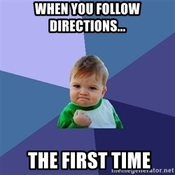 Success Kid - When you follow directions...   the first time