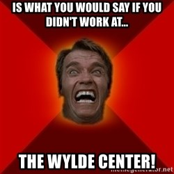 Angry Arnold - Is what you would say if you didn't work at... The Wylde Center!