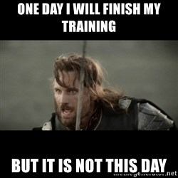 But it is not this Day ARAGORN - One day I will finish my training But it is not this day