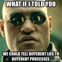 What If I Told You - What if I told you We could tell different lies to different processes.