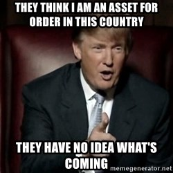 Donald Trump - they think i am an asset for order in this country they have no idea what's coming