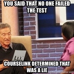 Maury Lie Detector - You said that no one failed the test  Courselink determined that was a lie