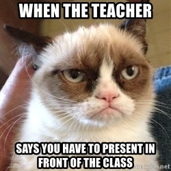 Grumpy Cat 2 - When the teacher  Says you have to present in front of the class