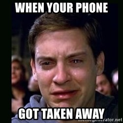 crying peter parker - when your phone  got taken away