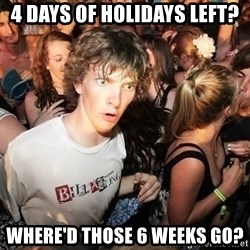 Sudden Realization Ralph - 4 days of holidays left? Where'd those 6 weeks go?