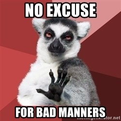 Chill Out Lemur - NO EXCUSE FOR BAD MANNERS