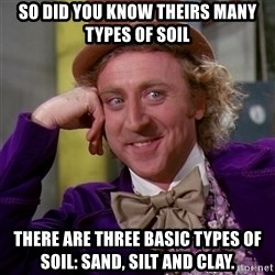 Willy Wonka - So did you know theirs many types of soil There are three basic types of soil: sand, silt and clay.