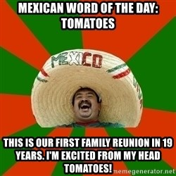 Successful Mexican - Mexican Word of the Day: Tomatoes This is our first family reunion in 19 years. I'm excited from my head tomatoes!