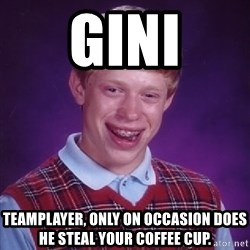 Bad Luck Brian - Gini Teamplayer, only on occasion does he steal your coffee cup.