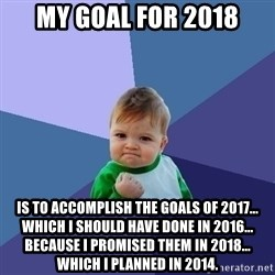 Success Kid - MY GOAL FOR 2018 is to accomplish the goals of 2017... which I should have done in 2016... because I promised them in 2018... which I planned in 2014.