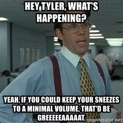 Yeah that'd be great... - Hey Tyler, What's happening? Yeah, If you could keep your sneezes to a minimal volume, that'd be greeeeeaaaaat.