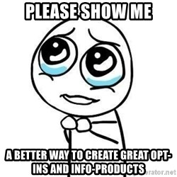Please guy - Please show me a better way to create great opt-ins and info-products
