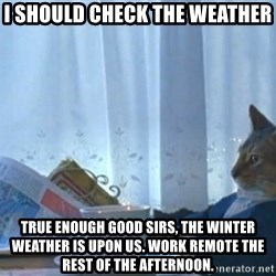 Sophisticated Cat - I should check the weather true enough good sirs, the winter weather is upon us. Work remote the rest of the afternoon.