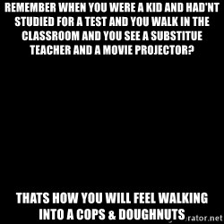 Blank Black - Remember when you were a kid and had'nt studied for a test and you walk in the classroom and you see a substitue teacher and a movie projector? Thats how you will feel walking into a Cops & Doughnuts