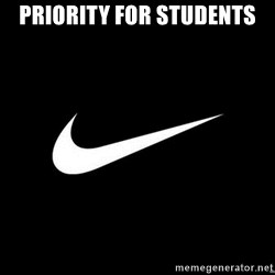 Nike swoosh - Priority for students