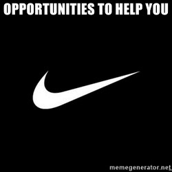 Nike swoosh - Opportunities to help you