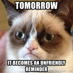 Angry Cat Meme - Tomorrow It becomes an unfriendly reminder