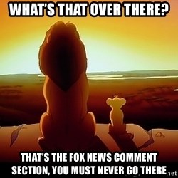 simba mufasa - What's that over there? That's the Fox News comment section, you must never go there
