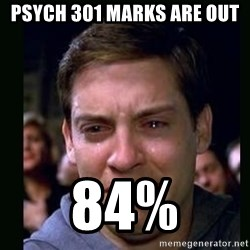 crying peter parker - Psych 301 marks are out 84%