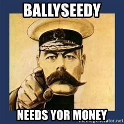 your country needs you - Ballyseedy  Needs yor money