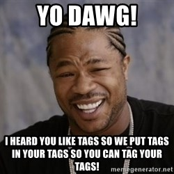 xzibit-yo-dawg - yo dawg! I heard you like tags so we put tags in your tags so you can tag your tags!