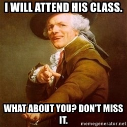 Joseph Ducreux - I will attend his class. What about you? Don't miss it.