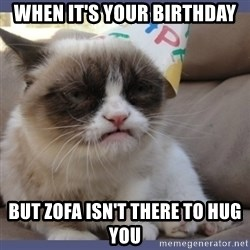 Birthday Grumpy Cat - When it's your birthday but Zofa isn't there to hug you