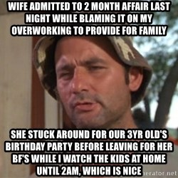 So I got that going on for me, which is nice - Wife admitted to 2 month affair last night while blaming it on my overworking to provide for family She stuck around for our 3yr old's birthday party before leaving for her BF's while I watch the kids at home until 2am, which is nice