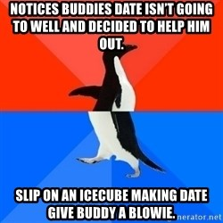 Socially Awesome Awkward Penguin - Notices buddies date isn't going to well and decided to help him out.  Slip on an icecube making date give buddy a blowie.